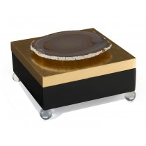 Black-Laquered Geode Box w/Gold Lid