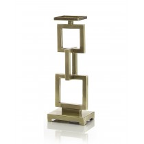 Warm Brass Interlinked Rectangles Candlestand, Sm