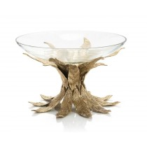Cast Brass Sakura Leaves Base & Glass Bowl