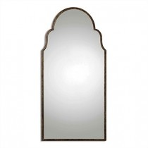 Braydon Metal Arched Oversized Mirror in Bronze & Gold-Leaf Undertones