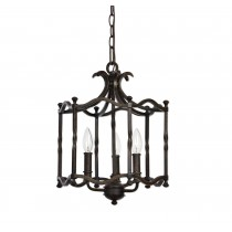 Three-Light Candela Pendant in Distressed Rust/Black Iron Finish