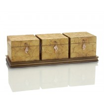 Three Capiz Shell Boxes on Wooden Tray