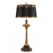 "36"" Black & Gold Carved Wood Table Lamp"