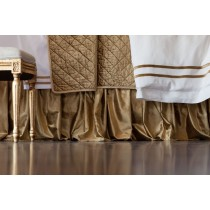 CHLOE GATHERED 3 PANEL BED SKIRT / STRAW VELVET 3/22X86
