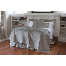 CHLOE QUEEN COVERLET / ICE SILVER VELVET 96X98