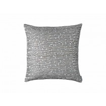 CHRISTIAN SQ. PILLOW / PLATINUM VELVET/ SILVER PRINT/ GUNMETAL BEADS 24X24