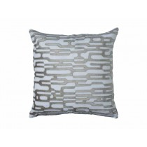 CHRISTIAN SQ. PILLOW WHITE LINEN / PLATINUM VELVET 24X24
