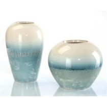 Cream and Blue Vases, Set/2