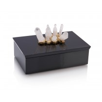 Crystal Adornment Black Enamel Box