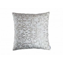 ELLIE SQ. PILLOW / IVORY VELVET / IVORY RIBBON / BEADS 24X24