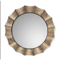 Gothum Round Decorative Mirror in Burnished Champagne Finish