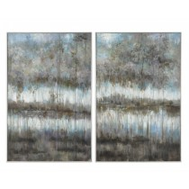 Gray Reflections Hand Painted Canvases, Set/2