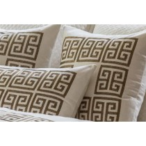 GUY SQ. BORDER PILLOW IVORY BASKETWEAVE/ GOLD METALLIC EMBROIDERY 24X24