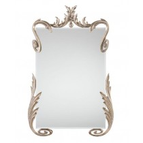Hailey Beveled Mirror in Silver-Leaf Scrolled Detailing
