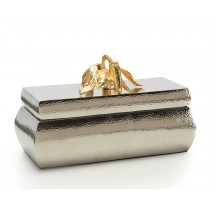 Hammered Nickel Box w/Gold Sculptured Pepper