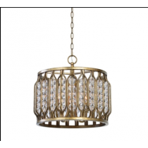 Jenson Antiqued Silver/Dk Bronze Four-Light Designer Lighting Pendant with Acrylic Ball Shade