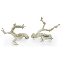 "9 x 12 x 7"" (ea) Just Twigs in Silver Leaf, Set/2"