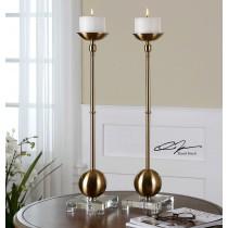 Laton Brass Candleholders, Set/2