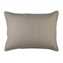"LAURIE 1"" DIAMOND QUILTED LUXE EURO PILLOW STONE BASKETWEAVE 27X36"