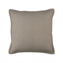 "LAURIE 1"" DIAMOND QUILTED EURO PILLOW - STONE BASKETWEAVE 26X26"