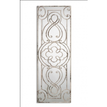 Levante Hand Forged Decorative Mirror w/Scrollwork Aged Distressed White with Rust-Black Undertones