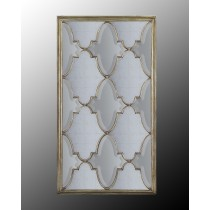 Michelle Venetian-Silver Oversized Mirror w/Eglomise & Beveled Panes
