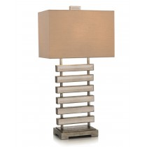 Beveled Mirror Ladder Table Designer Lamp w/Oatmeal Shade