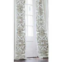 MOZART DRAPERY PANEL / WHITE LINEN / ICE SILVER VELVET / LEFT & RIGHT / SET-2 / 52X120