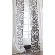 Mozart Custom Drapery Panel Set - White Linen/Silver Velvet Left & Right