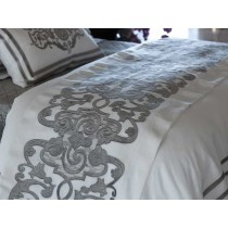 Mozart Luxury Bedding White/Silver Linen Throw Blanket