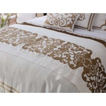 Mozart Luxury Bedding White/Straw Linen Throw Blanket