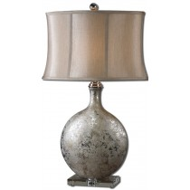 Navelli Textured Metallic Silver Ceramic Designer Lamp with Crystal Foot and Champ/Brnz Shade