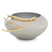 Nickel-Plated Bowl w/Golden Branch