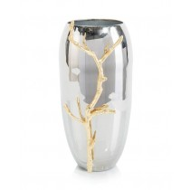 Nickel-Plated Vase w/Golden Branch