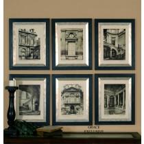 Paris Scene Monochromatic Prints, Set/6