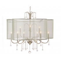 Antique Parisian Silver Voile 9-light Large Chandelier