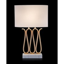 Ribbon-of-Gold Table Lamp on White Marble Base