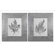 Silver Foil Algae Wall Art - Set/2