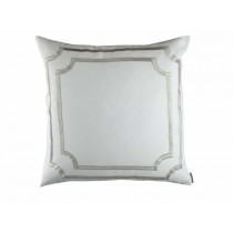 SOHO EUROPEAN PILLOW / WHITE LINEN / ICE SILVER VELVET 26X26