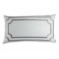 SOHO KING PILLOW / WHITE LINEN / SILVER VELVET 20X36