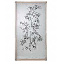 Tamarind Eglomise Mirror I, Hand-Painted w/Branch and Delicate Foliage