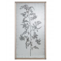 Tamarind Eglomise Mirror II, Hand-Painted w/Branch and Delicate Foliage