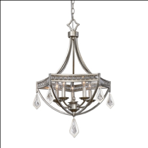 Tamworth Burnished Silver & Champagne Leaf Five-Light Designer Lighting Pendant