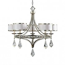 Tamworth Silver/Champagne Leaf Five-Light Large Chandelier w/Off-White Shades