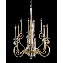 Twelve-Light Large Chandelier in Silver Verdi Finish