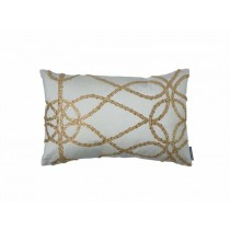 WHIMSICAL SM. RECT. PILLOW / IVORY SILK / GOLD GLASS CRYSTALS 14X22