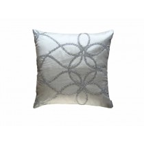 WHIMSICAL SQ. IVORY PILLOW / IVORY SILK / CLEAR GLASS CRYSTALS 22X22