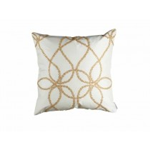 WHIMSICAL SQ. PILLOW / IVORY SILK / GOLD GLASS CRYSTALS 22X22