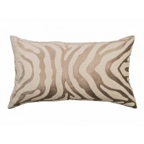 ZEBRA LG. RECT. PILLOW / FAWN VELVET / WHITE BEADS 18X30