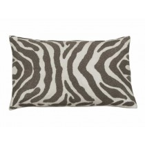 ZEBRA LG. RECT. PILLOW / IVORY VELVET / PEWTER BEADS 18X30